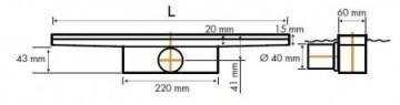 Easydrain Compact ff 50 afvoergoot 6x100 cm.zijuitlaat met afdichtingsdoek rvs EDCOMFF100050