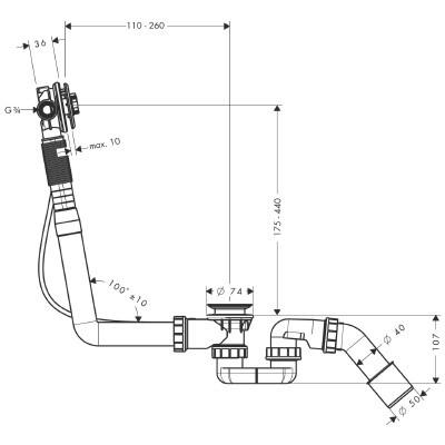 Voorkeur Hansgrohe Exafill badafvoer-inlaatcombinatie chroom 58115180 EY12