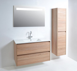 Blusani Sense meubelset greeploos hoogglans wit 60cm 1 krg 2 laden spiegel BME06001