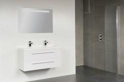 Stern XXS Artificial Stone meubelset met grepen Hoogglans Wit 100cm 1 krg 2 laden spiegel 10661.2065.3888 3
