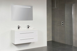 Stern XXS Artificial Stone meubelset met grepen Black Wood 100cm 1 krg 2 laden spiegel 10662.2065.3888 3