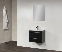 Stern Smallline Keramiek meubelset met grepen Black Wood 60cm 1 krg 2 laden spiegel 10642.20609.3886