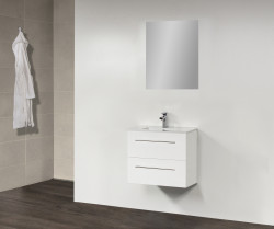 Stern Smallline Keramiek meubelset met grepen Hoogglans Wit 60cm 1 krg 2 laden spiegel 10641.20609.3886
