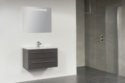 Stern Smallline Keramiek meubelset met grepen Black Wood 80cm 1 krg 2 laden spiegel 10652.2062.3887
