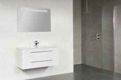 Stern Smallline Keramiek meubelset met grepen Hoogglans Wit 100cm 1 krg 2 laden spiegel 10661.21009.3888 1