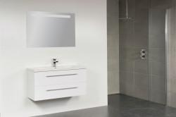 Stern Smart Keramiek meubelset met grepen Hoogglans Wit 100cm 1 krg 2 laden spiegel 10661.2340.3888