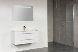 Stern Smart Keramiek meubelset met grepen Black Diamond 100cm 1 krg 2 laden spiegel 10673.2340.3888