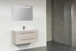 Stern Exclusive Line Empoli meubelset met grepen Hoogglans Wit 100cm 1 krg 2 laden spiegel 1210.2099.3888