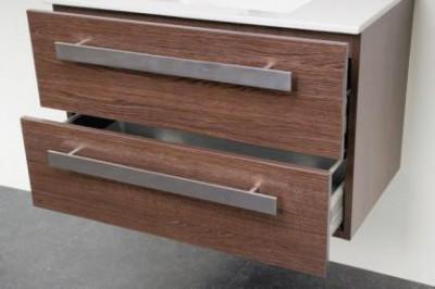 Stern Exclusive Line Pisa meubelset met grepen Black Wood 80cm 1 krg 2 laden spiegel 1408.2110.3887 2