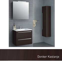 Isani Akron meubelset met greep donker kastanje 60x46cm 1 krg 2 laden spiegel 60020102