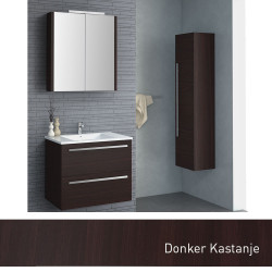 Isani Akron meubelset met greep donker kastanje 60x46cm 1 krg 2 laden spiegelkast 60020202