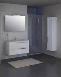Isani Akron meubelset met greep hoogglans wit 90x46cm 1 krg 2 laden spiegel 60040101