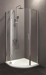 Stern Douchecabine 1/4 rond met 1 openslaande deur 90x90 cm zilver helder glas ST4014