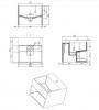 Solid-S Quatra fontein en wastafel solid surface B32.5xD32.5xH25cm met verdekte afvoer 1207861382