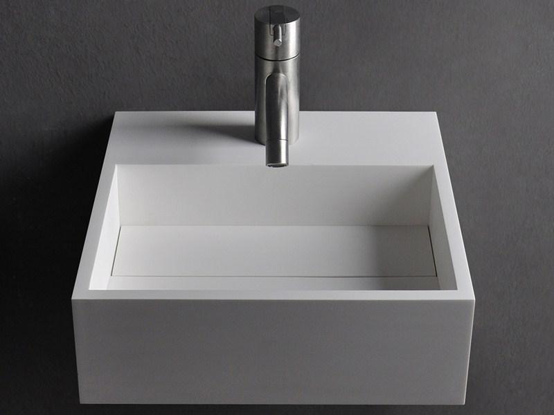 Wasbak Wit Rechthoekig.Solid S Wall Wastafel Vierkant Mat Wit B30xd30xh10cm Geen
