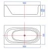 Solid-S Recto vrijstaand ligbad corian L180xB93xH55cm mat wit