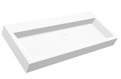 Solid-S Wall wastafel rechthoek mat wit B100xD42xH10cm zonder waste SOLS0031004