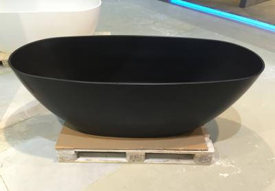 Solid-S Saint-Tropez vrijstaand bad 180x80 solid surface mat zwart 1208775492