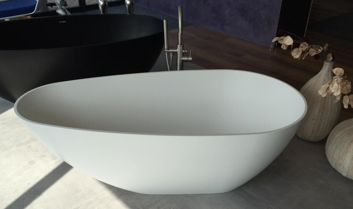 Half Vrijstaand Bad Zwart.Solid S Cannes Vrijstaand Bad 160x80 Solid Surface Mat Zwart