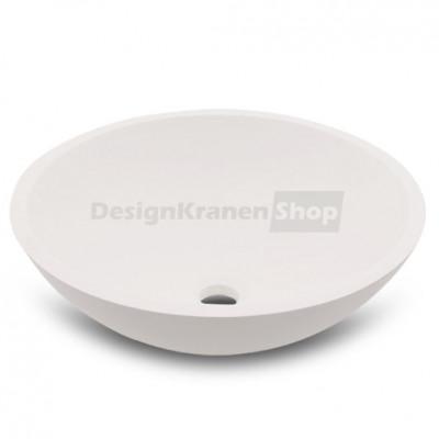 Solid-S Pure opbouwwastafel kom rond mat wit B41xH14cm zonder overloop met solid surface plug 1208775652
