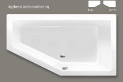 Beterbad Society 160 ligbad links acryl 160x90cm mat cement grijs 6881-06