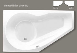 Beterbad Fiji combinatievorm ligbad links acryl 160x90cm wit 6829-01
