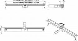 Design tegeldrain douchegoot volledig RVS met rvs flens en tegel te verwerken 70cm 1208790212