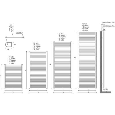Aquadesign Handdoekradiator antraciet 766x600