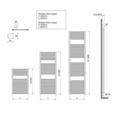 Aquadesign Handdoekradiator wit 1185x450
