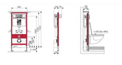 TECE inbouwelement 1120 mm frontbediening+ voorwandbevestiging