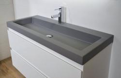 Ink Momento wastafel porselein quartz grijs 120x45x9cm 2 kraangaten 3421142