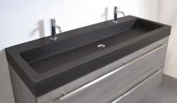 Ink Momento wastafel porselein quartz zwart 120x45x9cm 2 kraangaten 3421242