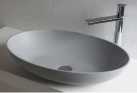Solid-S Top Thin opbouw wastafel ovaal mat licht grijs B60xD40xH14.5cm zonder waste 1208831902