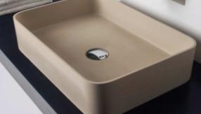 Solid-S SolidthinSQ opbouwwastafel rechthoek mat beige B50xD35xH12.5cm 1208831932