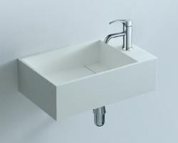 Solid S fontein B40xD22xH10cm rechthoek met waste wit mat SOLIDF001