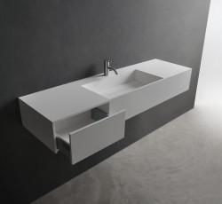 Solid-S Wall Special wastafel met kasten rechthoek mat wit B150xD45xH20cm zonder waste 1208832022