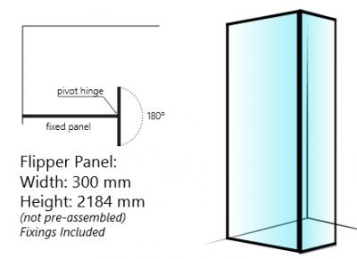 Shower Retro Design klapwandje met mat zwarte kader rondom 30cm 8mm glas anti-kalk 1208851592