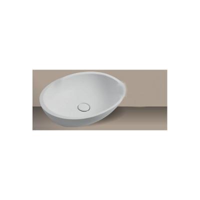Xenz Cudo opbouwwaskom Solid Surface wit 64 x 40cm zonder overloop 8521