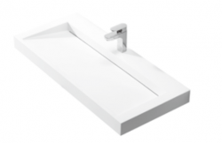 Solid-S Quatra wastafel solid surface mat wit zonder kraangat 100 x 45,5 x 8 cm 1208852732