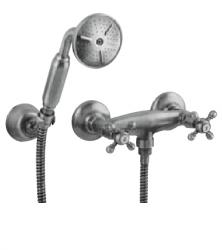 Klassieke kraan douchekraanset met sterknoppen inclusief handdouche Brons 1208855282