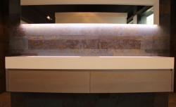 TopLine massief eiken badmeubel met 2 laden greeploos 200cm - kleur Silver Grey - met zijwangen