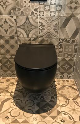 Flavio Murano rimless wandtoilet mat zwart incl. softclose zitting en quickrelease FM0104