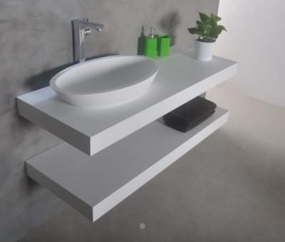 Solid-S MAATWERK wastafelblad solid surface mat wit 1208889942