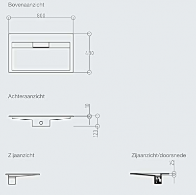 Solid-S Flat solid surface wastafel 160x50x10cm mat wit - 2 wasbakken 1208911302