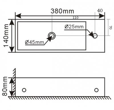 Blusani fonteincombinatie rechts 38x14x8 cm wit - RVS 1208911642