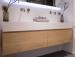 TopLine Amsterdam Badmeubelset met massief eiken badmeubel solid surface wastafel en spiegel 120x50cm