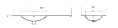 Solid-S Coff solid surface wastafel 120x46x0.9cm mat wit - 2 wasbakken 1208913672