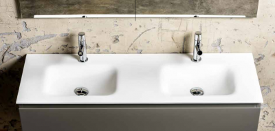 Solid-S Grunne solid surface wastafel 130x41x0.9cm mat wit - 2 wasbakken 1208913742