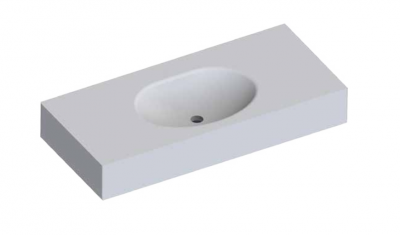 Solid-S Moon solid surface vrijhangende wastafel 100x46x12cm mat wit - 1 wasbak 1208913832