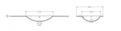 Solid-S Moon solid surface wastafel 120x46x0.9cm mat wit - 2 wasbakken 1208913782